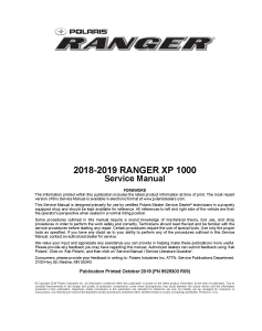2018-2019 Polaris Ranger XP 1000 Side x Side Service Repair Manual PDF Download | eBooks | Reference