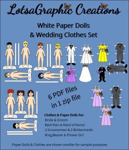 white paper dolls wedding set