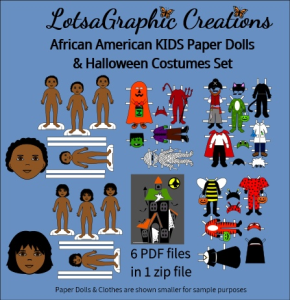 african american paper doll halloween set