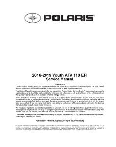 2016-2019 Polaris Youth 110 EFI ATV Service Repair Manual PDF Download | eBooks | Reference