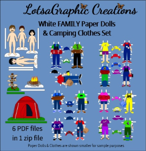 white family paper dolls & camping clothes set