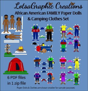 african american family paper dolls & camping clothes set