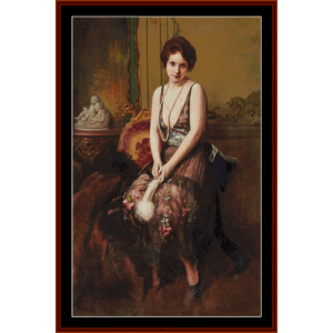 seated lady with fan - a.j. penot cross stitch pattern by cross stitch collectibles