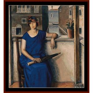 woman on balcony - a. salietti cross stitch pattern by cross stitch collectibles