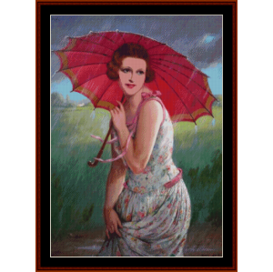 rainy day - f. m. kavel cross stitch pattern by cross stitch collectibles