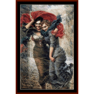 in the rain - g. bellei cross stitch pattern by cross stitch collectibles