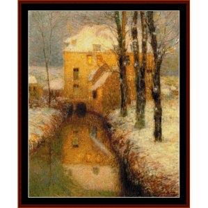 canal in snow - h.l. sidaner tanoux cross stitch pattern by cross stitch collectibles