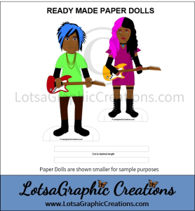 african american ready made paper dolls music rockers 2