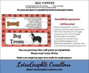dog treats 5 bag topper