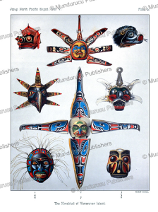 kwakiutl masks, rudolf cronau, 1905
