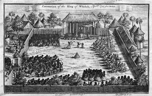 the coronation of the king of wydah in dahomey, benin, thomas astley after marchais, 1746