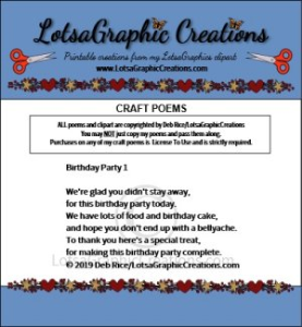 Birthday Party 1 Poem | Other Files | Arts and Crafts