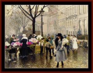 Flower Market in Copenhagen - Paul G. Fischer - K.R. Wallis cross stitch pattern by Cross Stitch Collectibles | Crafting | Cross-Stitch | Other