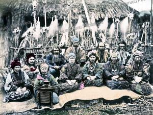 ainu men and women, hokkaido, kimbei kusakabe, 1890
