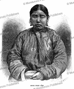 young ainu girl, japan, e. ronjat, 1887