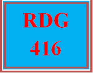 RDG 416 Week 5 Running Record and Summary | eBooks | Education