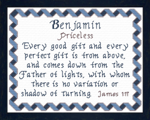 Name Blessings - Benjamin 3 | Crafting | Cross-Stitch | Other