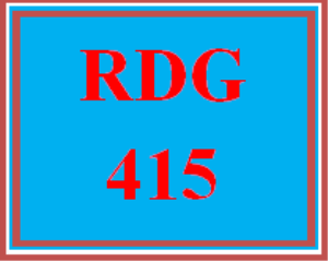 RDG 415 Entire Course | eBooks | Education