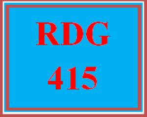 RDG 415 Week 2 Informal Reading Assessment Questions | eBooks | Education