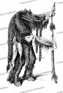 medicine man of the plains dressed in bear skin doing his incantations, l'illustration, 1845