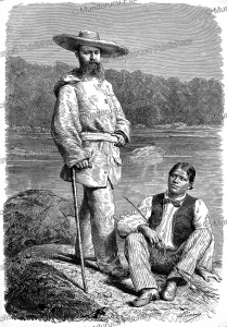 french explorer jules crevaux (1847-1882) with his guide in french guiana, h. thiriat, 1883