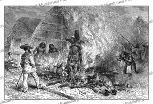 Cremation of a Roucouyenne Indian, French Guiana, E´douard Riou, 1883 | Photos and Images | Digital Art