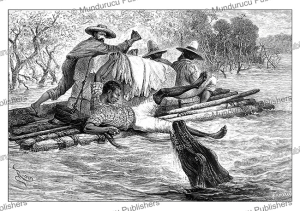 Apatou, the guide of French explorer Arthur Thouar is attacked by a caiman, E´douard Riou, 1884 | Photos and Images | Digital Art