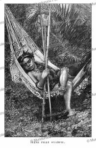 young girl of the oyampi indians, french guiana, e´douard riou, 1867