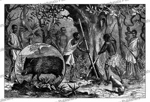 boni indians hunting peccary, french guiana, canedi, 1890