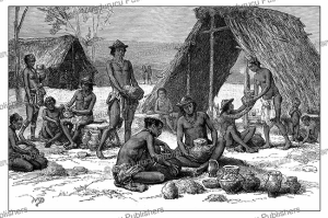 Galibi Indians (a Carib tribe) making pottery, French Guiana, D. Maillart, 1883 | Photos and Images | Digital Art