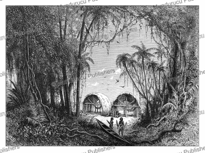 huts of the galibi indians (carib tribe) at the maroni river, french guiana, e´douard riou, 1890