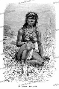 popoula, a beautiful aparai or apalai indian of the amazon near french guiana, e´douard riou, 1883