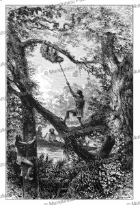 Indians hunting sloths in French Guiana, E´douard Riou, 1883 | Photos and Images | Digital Art