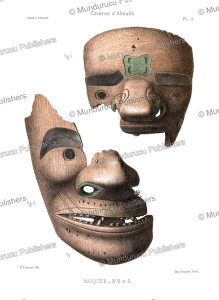 Funeral dance masks with tattoo patterns found on Unga Island of the Shumagin Islands in the Aleutians, Alaska, L. Pinart, 1875 | Photos and Images | Digital Art
