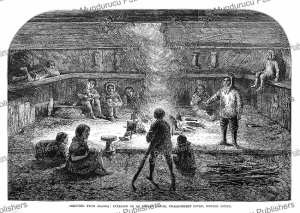 the interior of an indian house, unalakleet river, norton sound, alaska, the illustrated london news, 1868