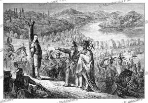 Baron Emile de Wogan tied to a war pole, California, Jules Pelpoq, 1852   Photos and Images   Digital Art