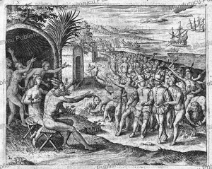 the welcome given to the dutch in the village of cermentin (kormantin), ghana, jan huygen van linschoten, 1610