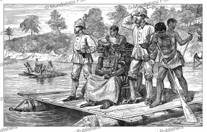 ashanti or asante ambassadors crossing the prah with henry morton stanley, ghana, 1874