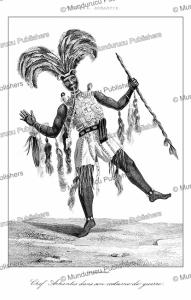 ashanti or asante captain in his war costume, ghana, lemaitre, 1848