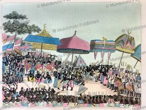 english embassy receiving the king of ashanti or asante, now ghana, angelo biasioli, 1819