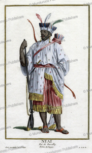 Nyai, King of Barsilly at the northside of the river Gambia, holding musket and bow and arrow, Pierre Duflos le Jeune, 1779 | Photos and Images | Digital Art