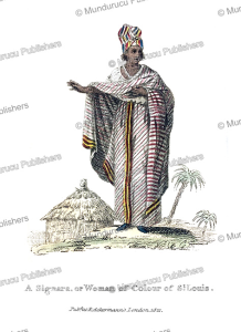 a signara, or woman of colour with high social standing, island of saint louis, senegal, frederic shoberl, 1821