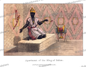 the hut of king sandene of saloum (senegal), frederic shoberl, 1821
