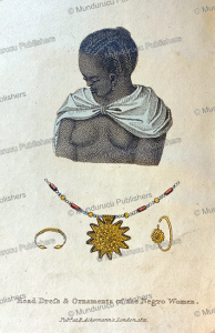 hairstyle and ornaments of the negro woman, western africa, frederic shoberl, 1821