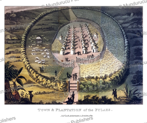 town and plantation of the fulahs (fulani), west africa, frederic shoberl, 1821