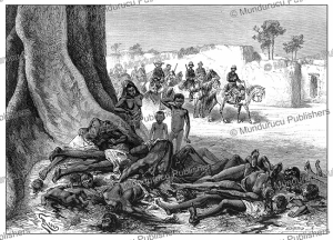 a caravan massacred by order of ahmadu tall, ruler of the toucouleur empire, mali, e´douard riou, 1883