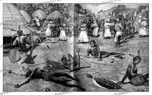 raid on a village in central africa by arab slave traders, the graphic, 1888