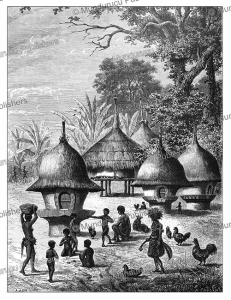 Niam-niam (Azande) huts for boys, A. de Bar, 1874 | Photos and Images | Digital Art