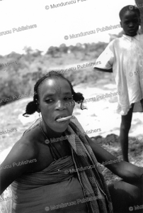 fulani woman with chew stick and forehead tattoo, t.a.m. nash, nigeria, 1951