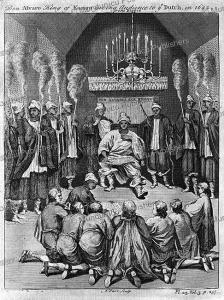 king alvaro of congo receiving a dutch delegation in 1642, thomas astley after dapper, 1746